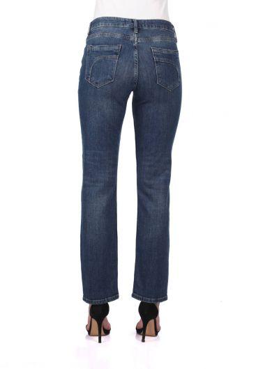 بنطلون جينز بقصة مستقيمة زرقاء وبيضاء نسائية - Thumbnail