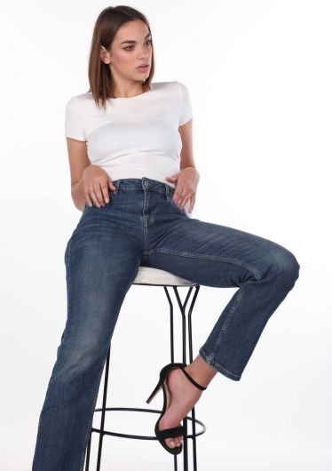 Blue White Women's Straight Cut Jean Trousers - Thumbnail