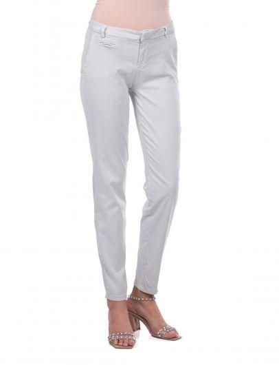 Сине-белыеженские узкие брюки - Thumbnail