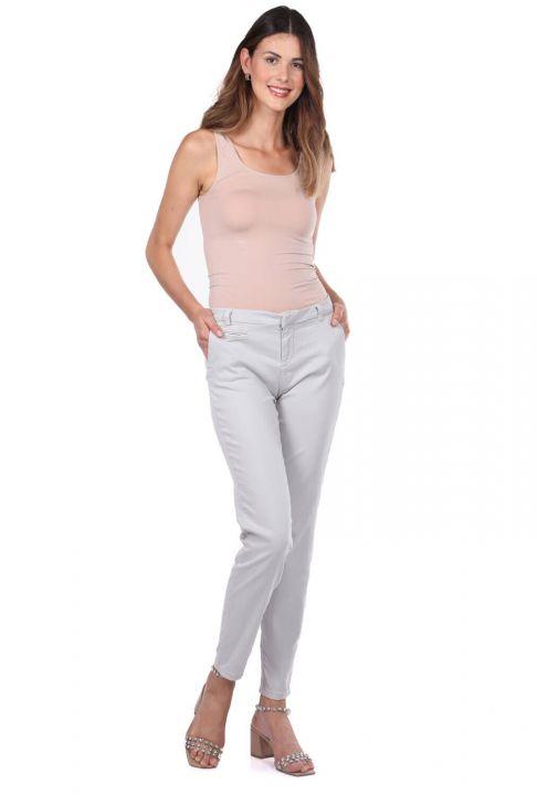 Сине-белыеженские узкие брюки