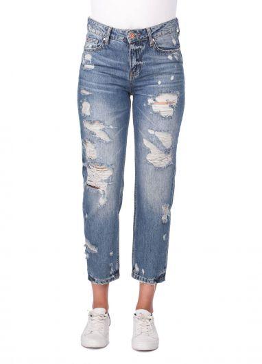 Женские синие белые рваные джинсы Mom Fit - Thumbnail