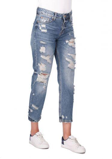 BLUE WHITE - Женские синие белые рваные джинсы Mom Fit (1)