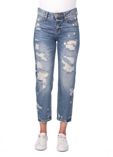 Blue White Torn Mom Fit Jeans For Women - Thumbnail