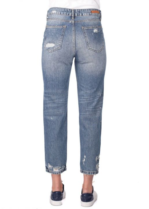Blue White Torn Mom Fit Jeans For Women
