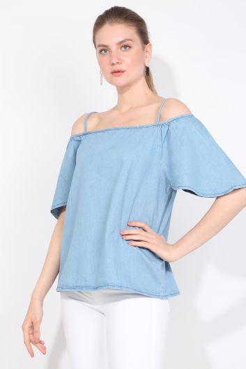 BLUE WHITE - Синяя белая женская джинсовая блузка (1)