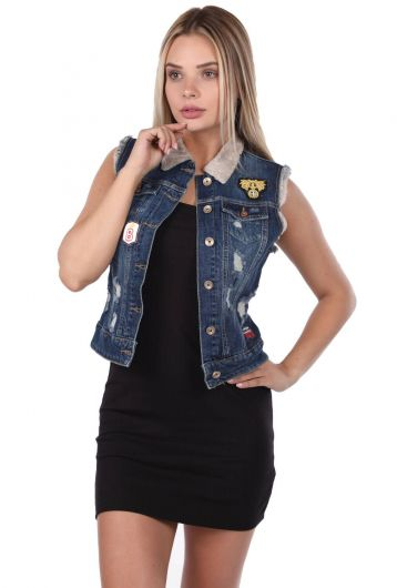 Blue White Women's Vest - Thumbnail