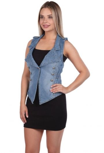 BLUE WHITE - Blue White Women's Vest (1)