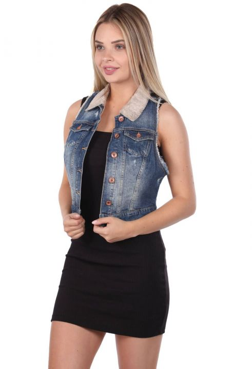Blue White Women's Vest