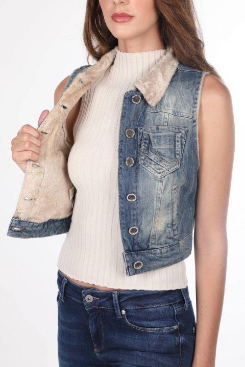 Blue White Women's Vest