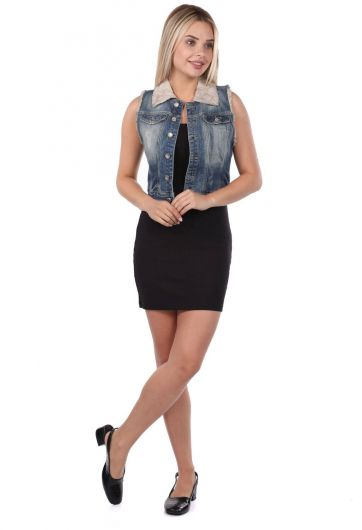 Blue White Women's Vest - Thumbnail