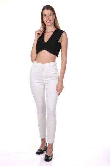 Blue White Women's White High Waist Jean Trousers - Thumbnail