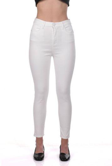Белые джинсовые брюки с завышенной талией сине-белые женские - Thumbnail