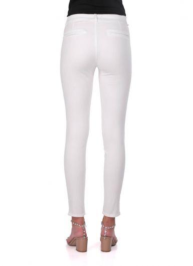 Синие белые женские белые узкие джинсовые брюки - Thumbnail