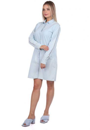 Bny Jeans Buttoned Women Jean Dress - Thumbnail