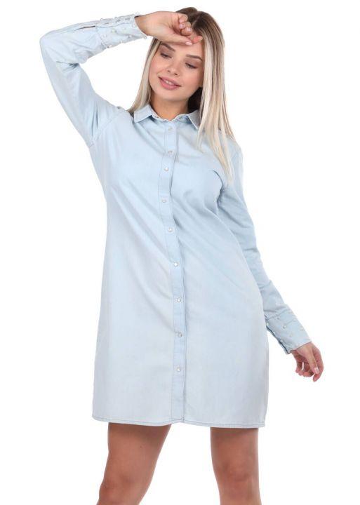 Bny Jeans Buttoned Women Jean Dress