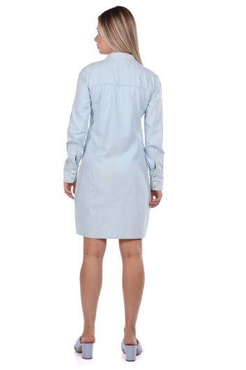 Женское джинсовое платье на пуговицах Bny Jeans - Thumbnail