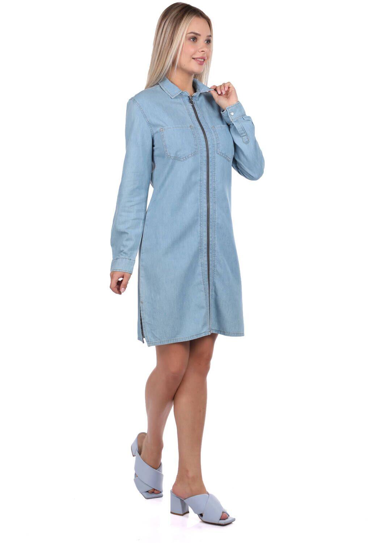 Bny Jeans Fermuarlı Kadın Jean Elbise