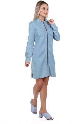 BNY JEANS - Bny Jeans Fermuarlı Kadın Jean Elbise (1)