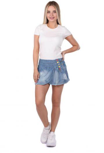 Bny Jeans Kadın Mini Kot Etek - Thumbnail