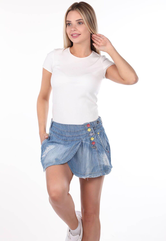 Bny Jeans Kadın Mini Kot Etek
