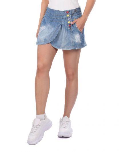 BNY JEANS - Bny Jeans Kadın Mini Kot Etek (1)