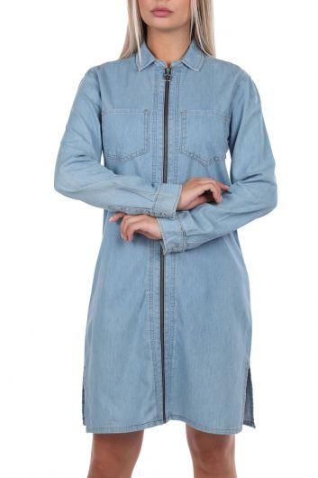 Bny Jeans Zipper Women Jean Dress - Thumbnail