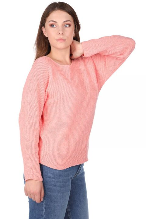Salmon Crew Neck Women's Knitwear Sweater