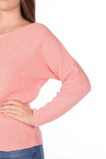 Salmon Crew Neck Women's Knitwear Sweater - Thumbnail