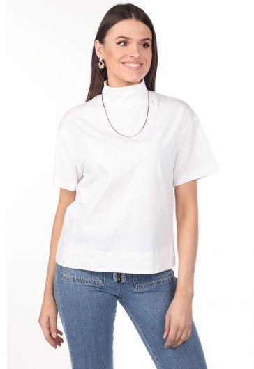 Boğazlı Beyaz Kadın T-Shirt - Thumbnail