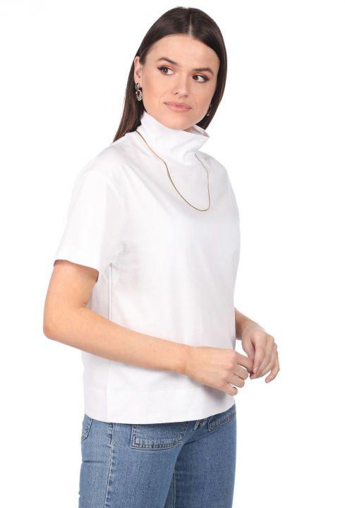 Boğazlı Beyaz Kadın T-Shirt
