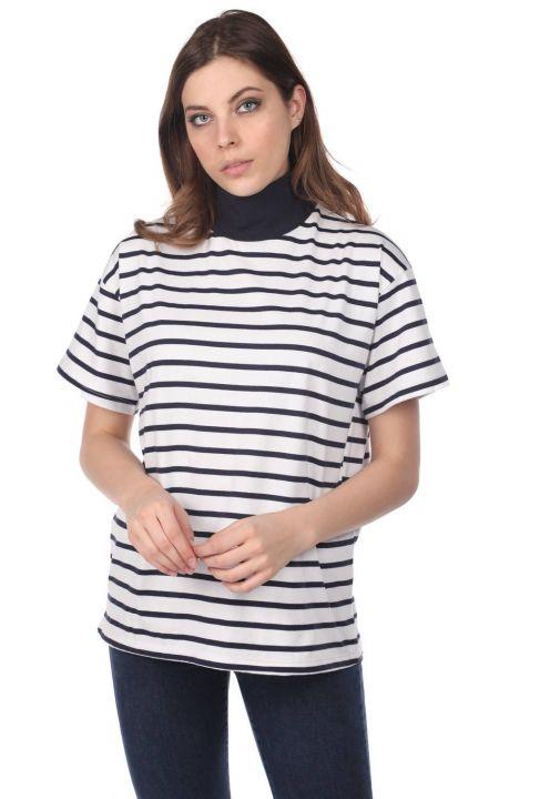Boğazlı Çizgili Kadın T-Shirt-Beyaz-Haki