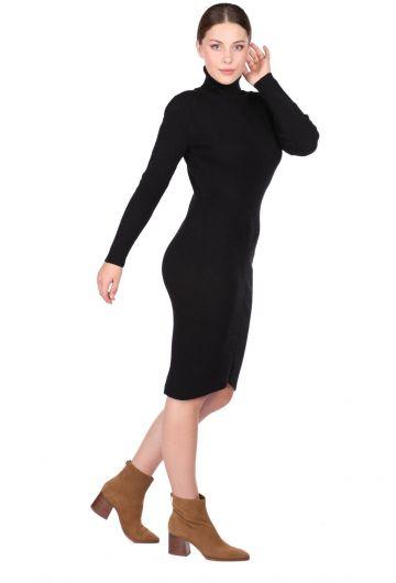 MARKAPIA WOMAN - Boğazlı Kalın Siyah Kadın Triko Elbise (1)
