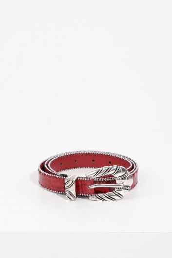 MARKAPIA - Women's Burgundy Crocodile Pattern Stony Leather Belt (1)