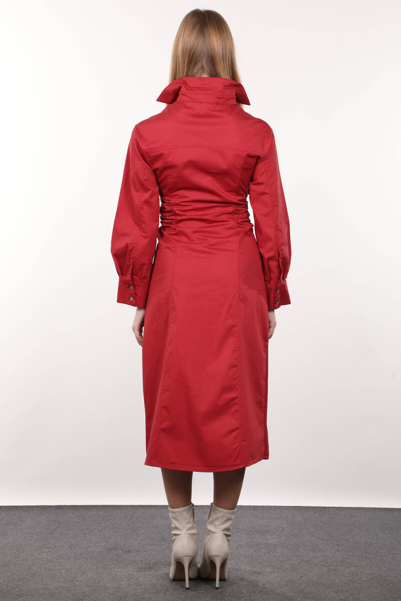 Bordo Yandan Büzgülü Cepli Kadın Elbise