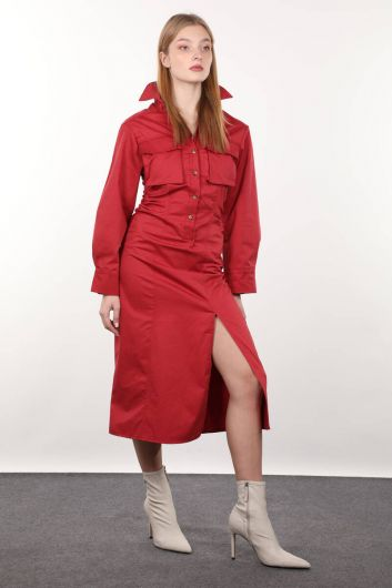 MARKAPIA WOMAN - Burgundy Side Gathered Woman Dress (1)