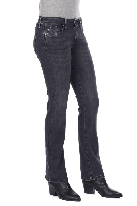 Boru Paça Füme Kadın Jean Pantolon