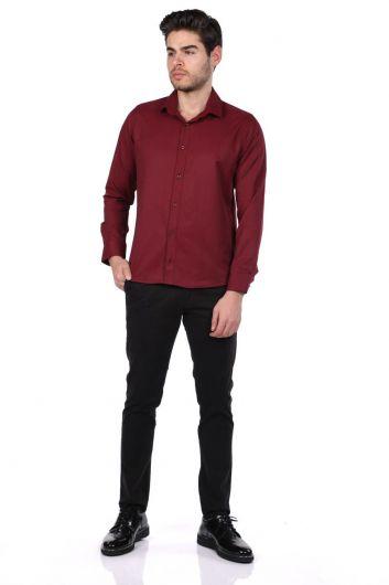 Мужская однотонная рубашка Markapia - Thumbnail