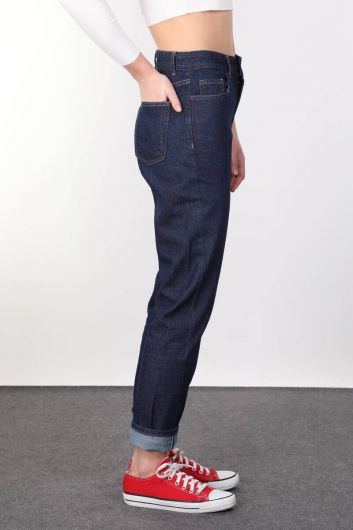 BLUE WHITE - Boyfriend Indigo Woman Jean Trousers (1)