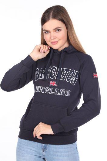 Brıghton England Aplikeli İçi Polarlı Kapüşonlu Kadın Sweatshirt - Thumbnail