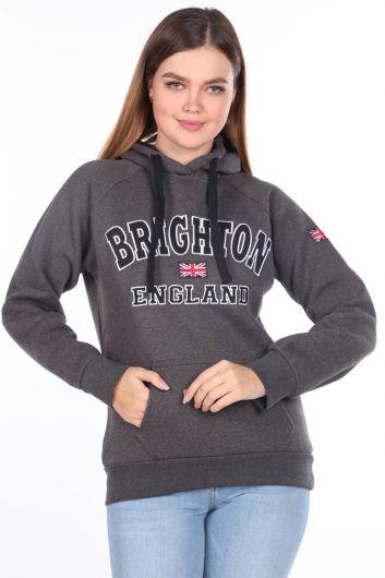 Brıghton England Applique Fleece Hooded Sweatshirt - Thumbnail