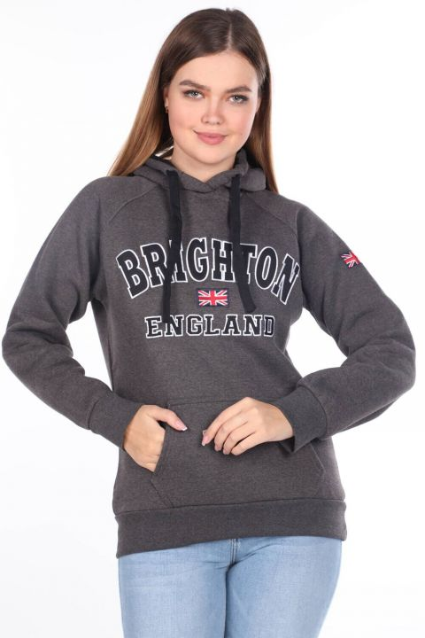 Brıghton England Applique Women's Fleece Hooded Sweatshirt