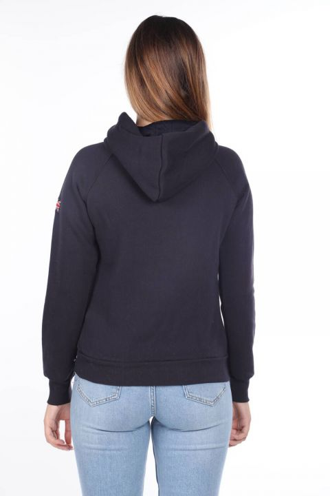 Brıghton England Applique Fleece Hooded Sweatshirt
