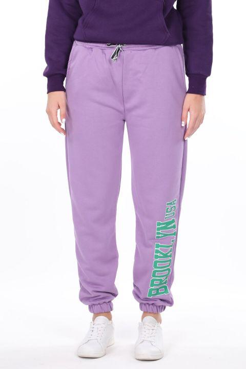 Сиреневые эластичные женские брюки с принтом Brooklyn