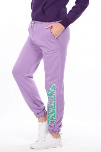 MARKAPIA WOMAN - Сиреневые эластичные женские брюки с принтом Brooklyn (1)