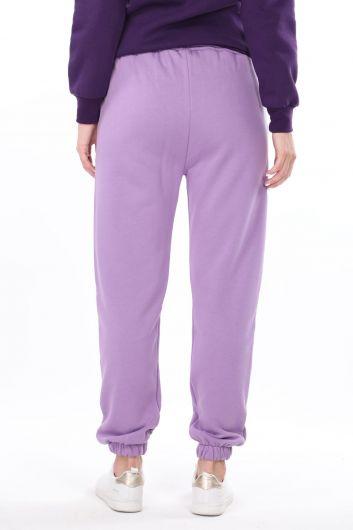 Сиреневые эластичные женские брюки с принтом Brooklyn - Thumbnail