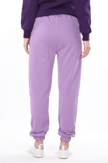 Brooklyn Printed Elasticated Lilac Women's Trousers - Thumbnail