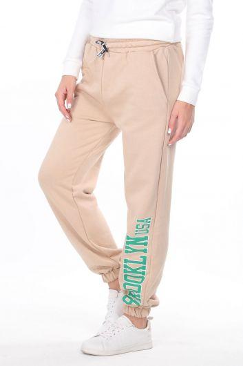 Эластичные бежевые женские брюки с принтом Brooklyn - Thumbnail