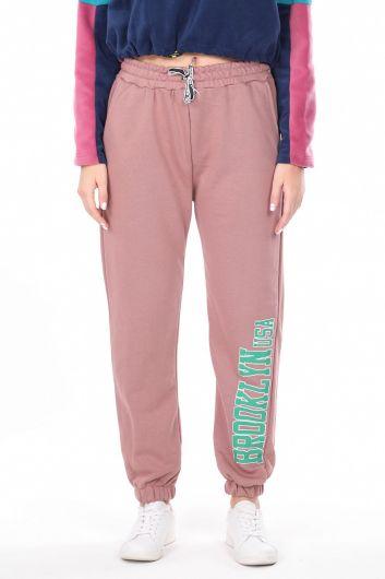 Розовые эластичные женские спортивные штаны с принтом Brooklyn - Thumbnail