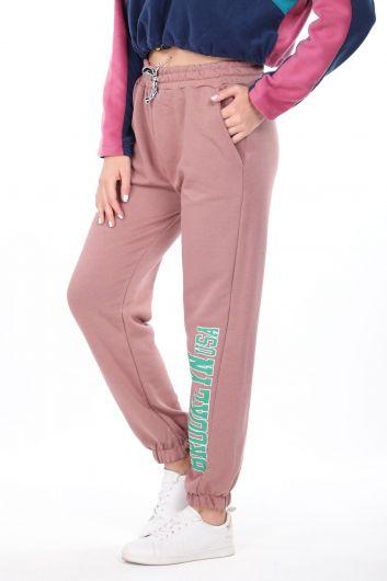 MARKAPIA WOMAN - Розовые эластичные женские спортивные штаны с принтом Brooklyn (1)