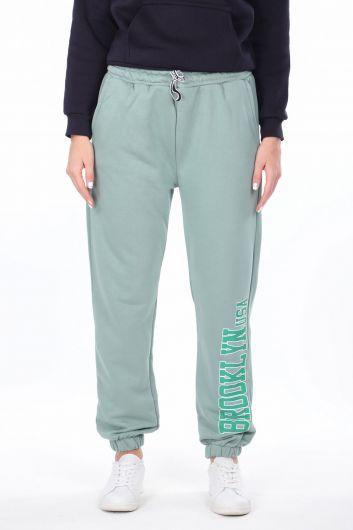 Эластичные зеленые женские спортивные штаны с принтом Brooklyn - Thumbnail
